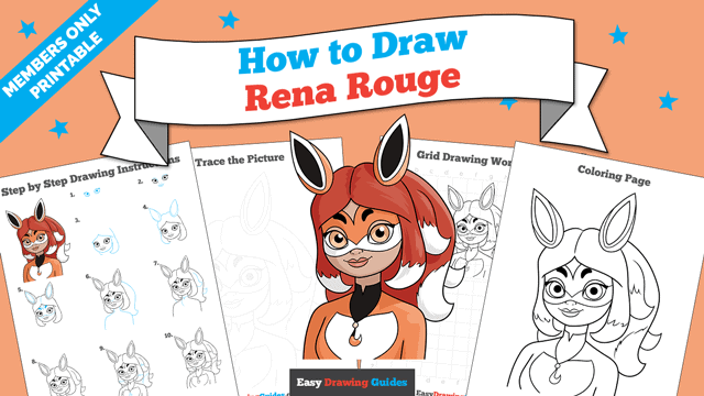 Printables thumbnail: How to Draw Rena Rouge from Miraculous