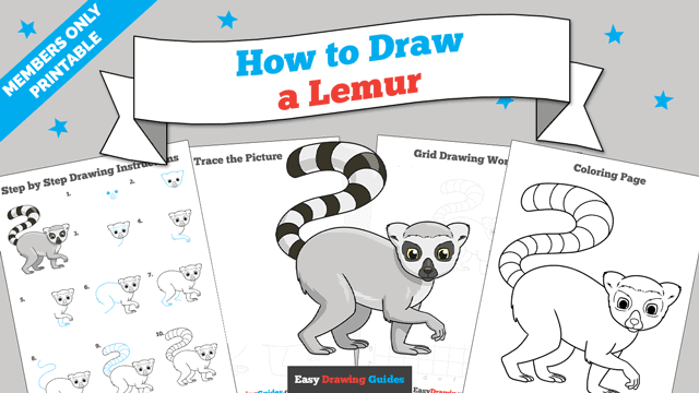 Printables thumbnail: How to Draw a Lemur