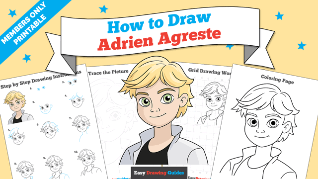 Printables thumbnail: How to Draw Adrien Agreste from Miraculous