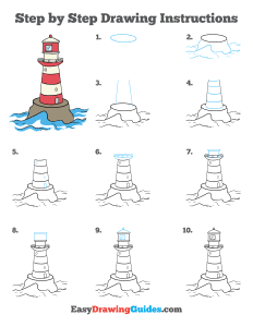 256 how to draw a lighthouse - ebook step page thumbnail 300h