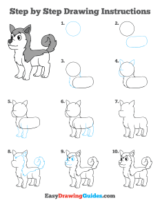 335 how to draw a husky - ebook-step-page-thumbnail