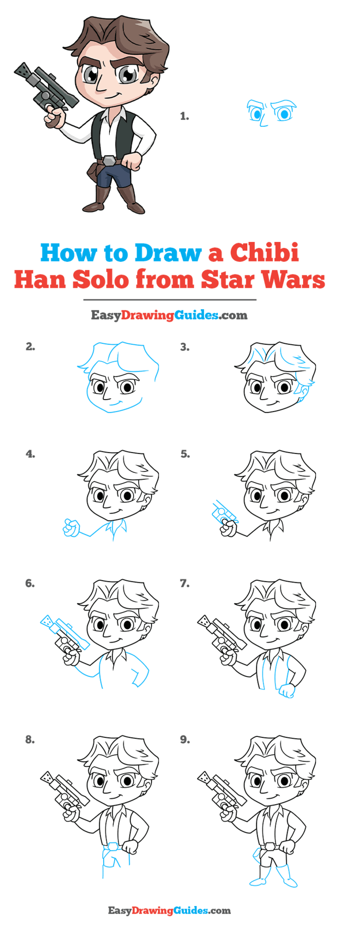 How to Draw a Chibi Han Solo from Star Wars Step by Step Tutorial Image