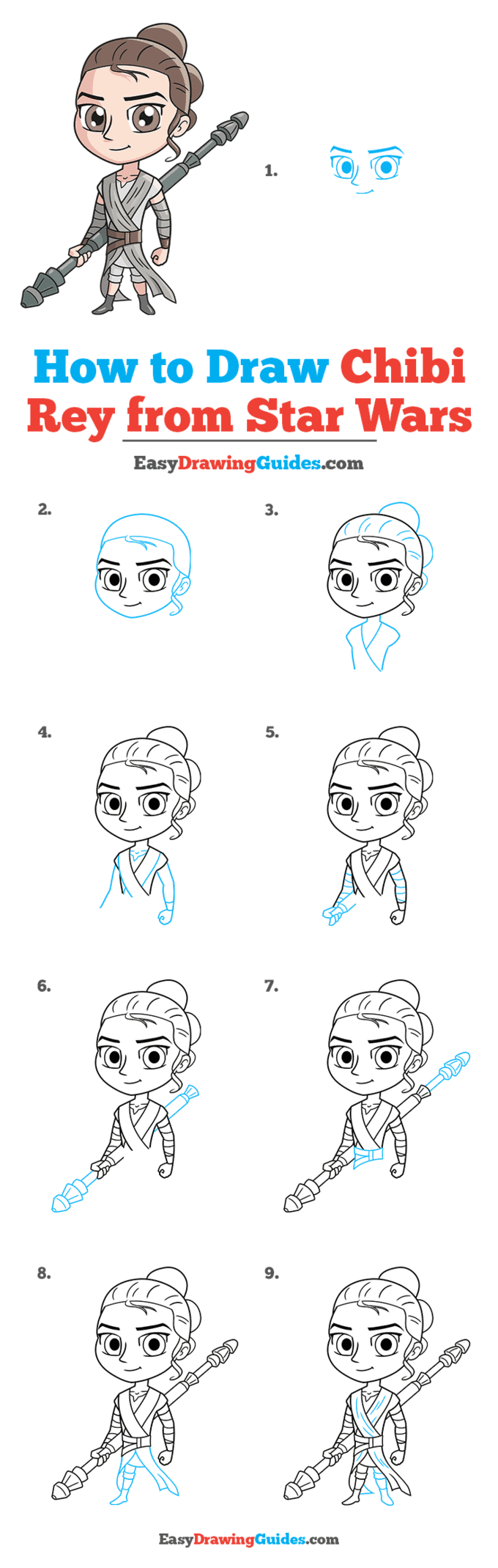 how to draw chibi rey from star wars step by step tutorial image
