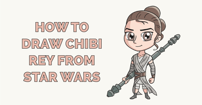 how to draw chibi rey from star wars featured image