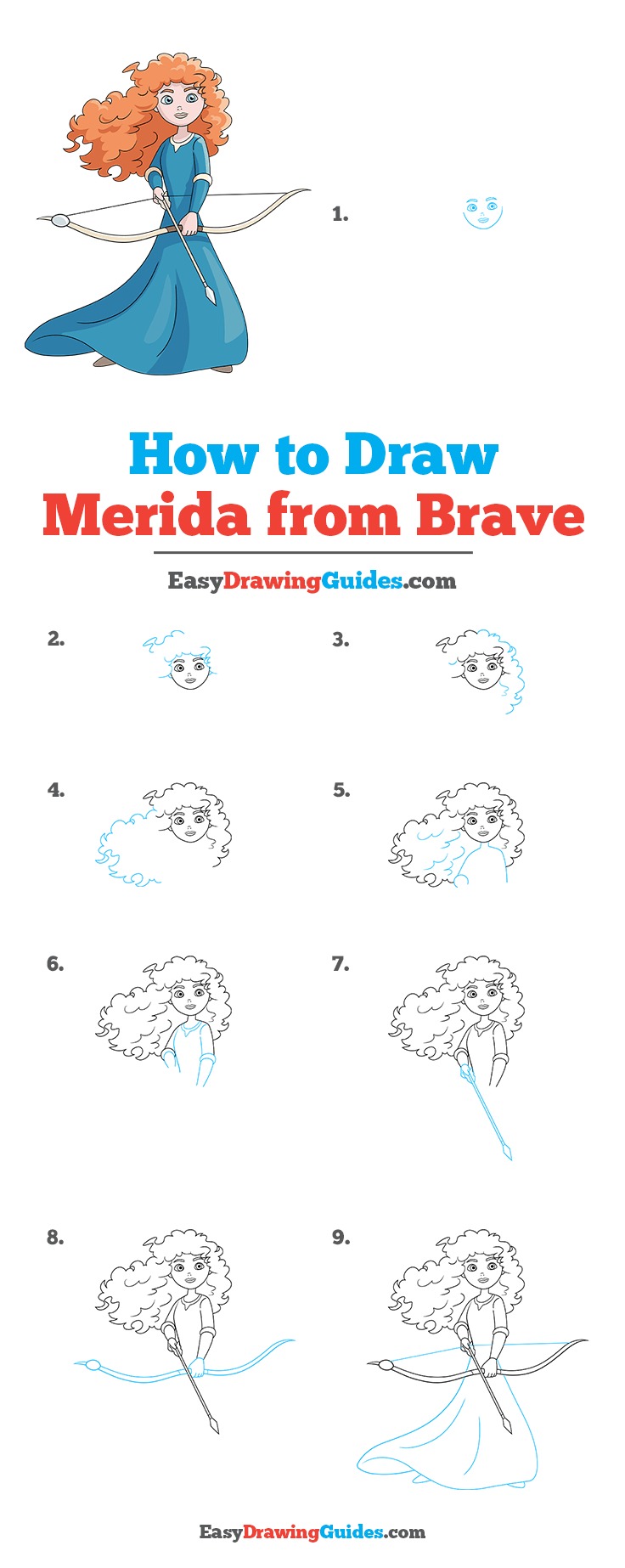 How to Draw Merida from Brave Step by Step Tutorial Image