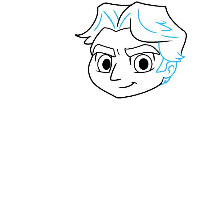 chibi han solo from start wars step-by-step drawing tutorial: step 03