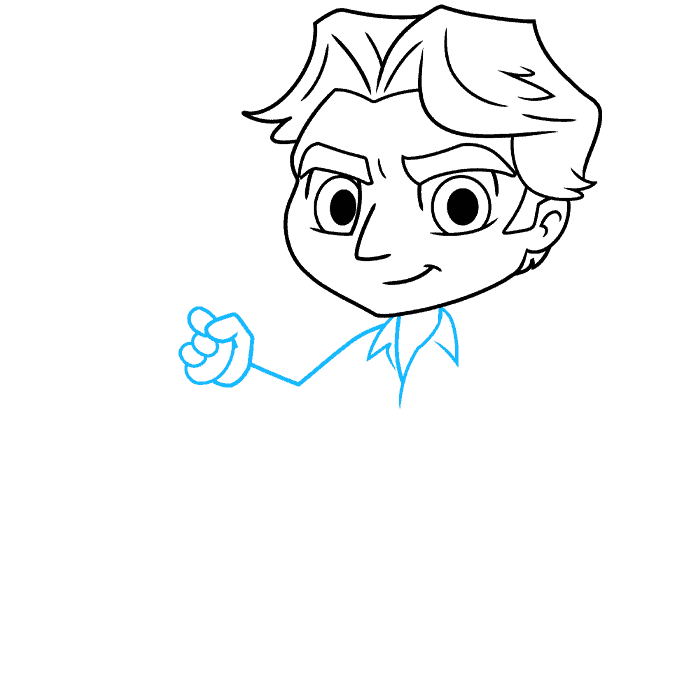 chibi han solo from start wars step-by-step drawing tutorial: step 04