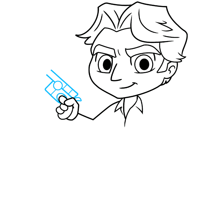 chibi han solo from start wars step-by-step drawing tutorial: step 05