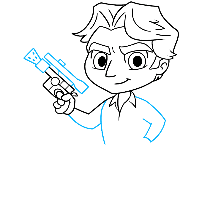 chibi han solo from start wars step-by-step drawing tutorial: step 06