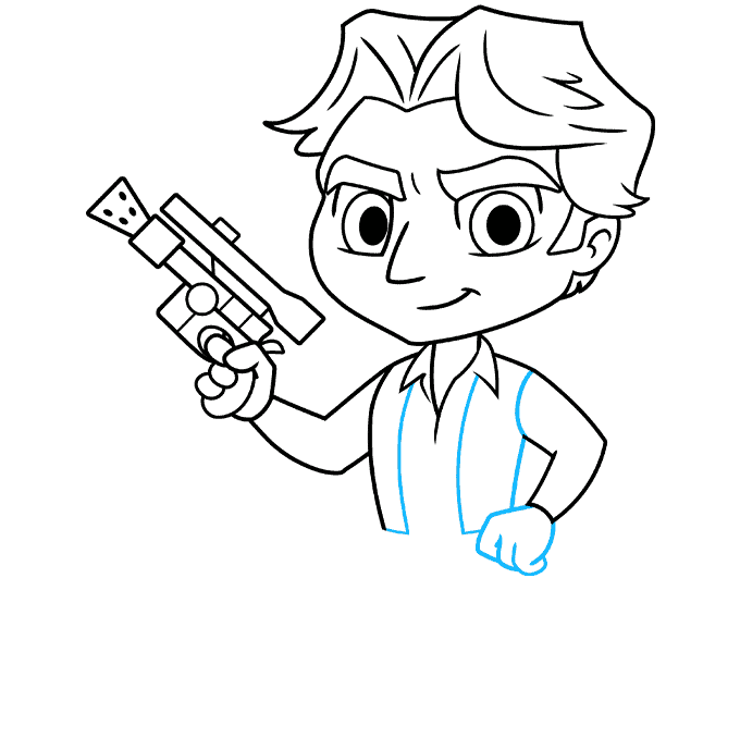 chibi han solo from start wars step-by-step drawing tutorial: step 07