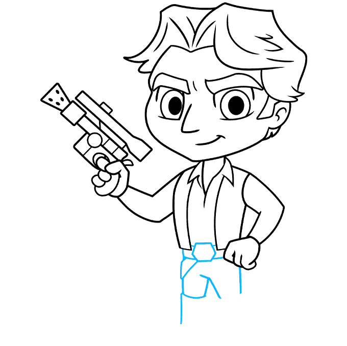 chibi han solo from start wars step-by-step drawing tutorial: step 08
