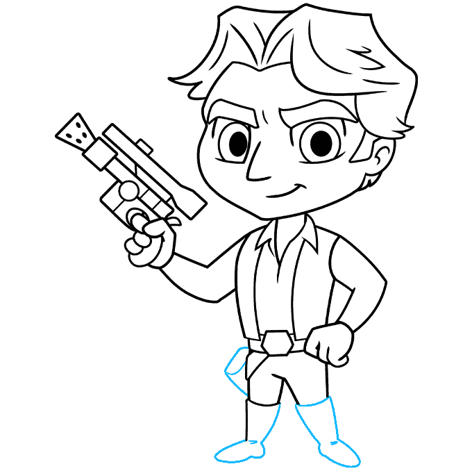 chibi han solo from start wars step-by-step drawing tutorial: step 09