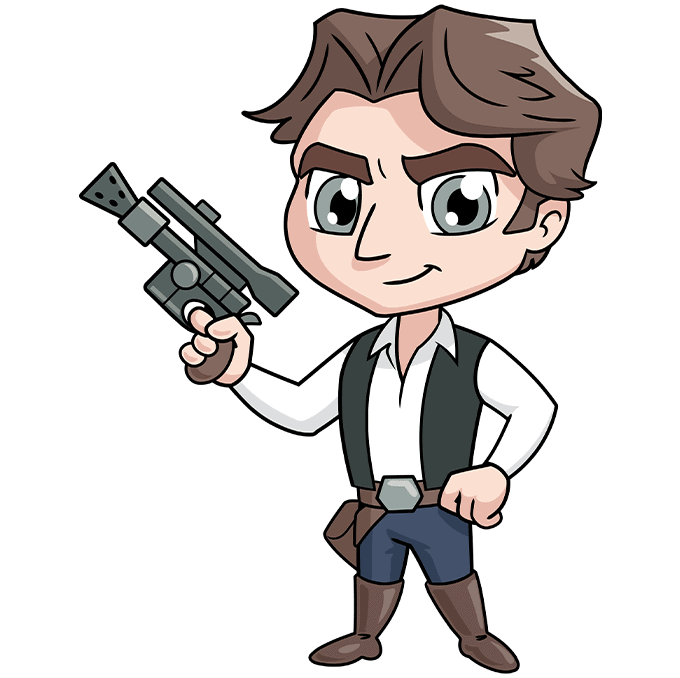 chibi han solo from start wars step-by-step drawing tutorial: step 10