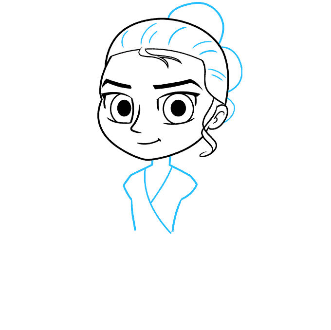 chibi rey from star wars step-by-step drawing tutorial: step 03