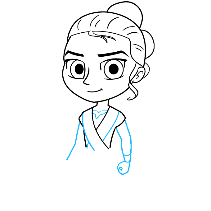 chibi rey from star wars step-by-step drawing tutorial: step 04