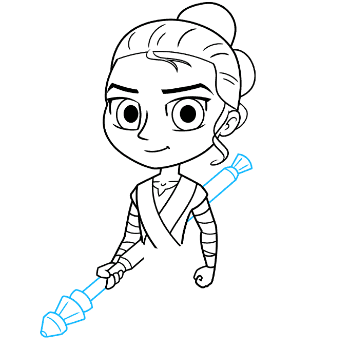 chibi rey from star wars step-by-step drawing tutorial: step 06