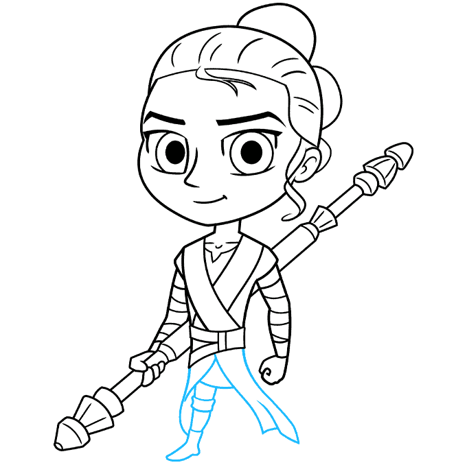 chibi rey from star wars step-by-step drawing tutorial: step 08