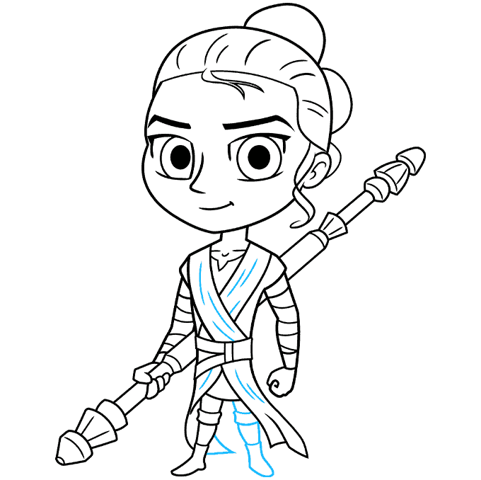 chibi rey from star wars step-by-step drawing tutorial: step 09