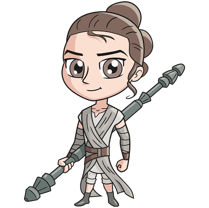 chibi rey from star wars step-by-step drawing tutorial: step 10