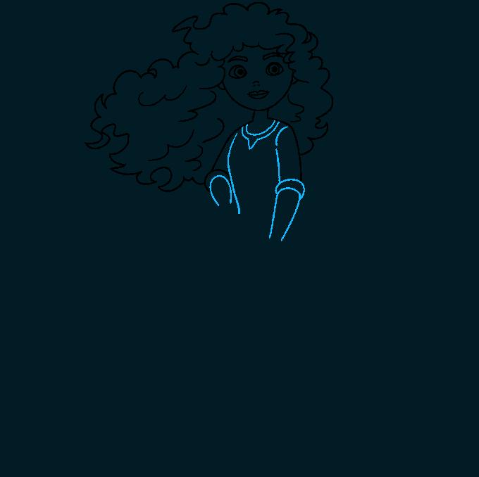 Merida from Brave step-by-step drawing tutorial: step 06