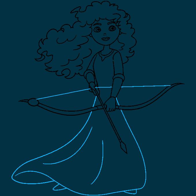 Merida from Brave step-by-step drawing tutorial: step 09