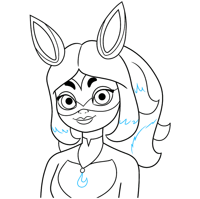 rena rouge from miraculous step-by-step drawing tutorial: step 09