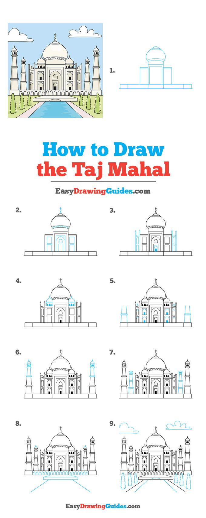 how to draw the taj mahal step by step tutorial image