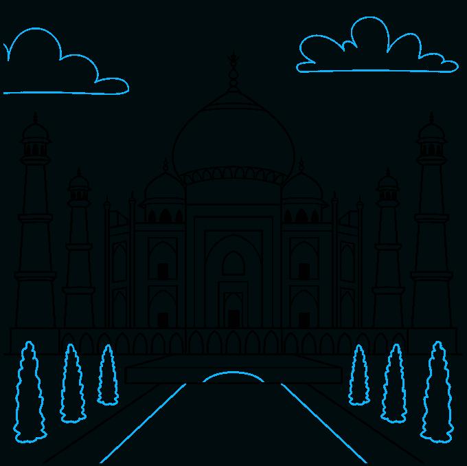 the taj mahal step-by-step drawing tutorial: step 09