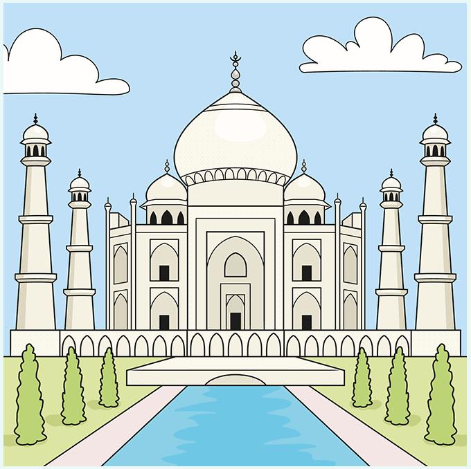 the taj mahal step-by-step drawing tutorial: step 10