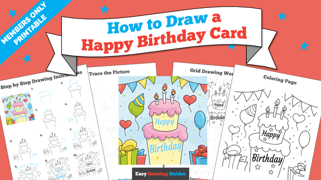 Printables thumbnail: How to Draw a Happy Birthday Card