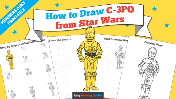 Printables thumbnail: How to Draw C-3PO from Star Wars
