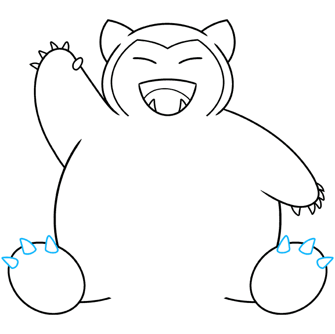 snorlax pokémon step-by-step drawing tutorial: step 08
