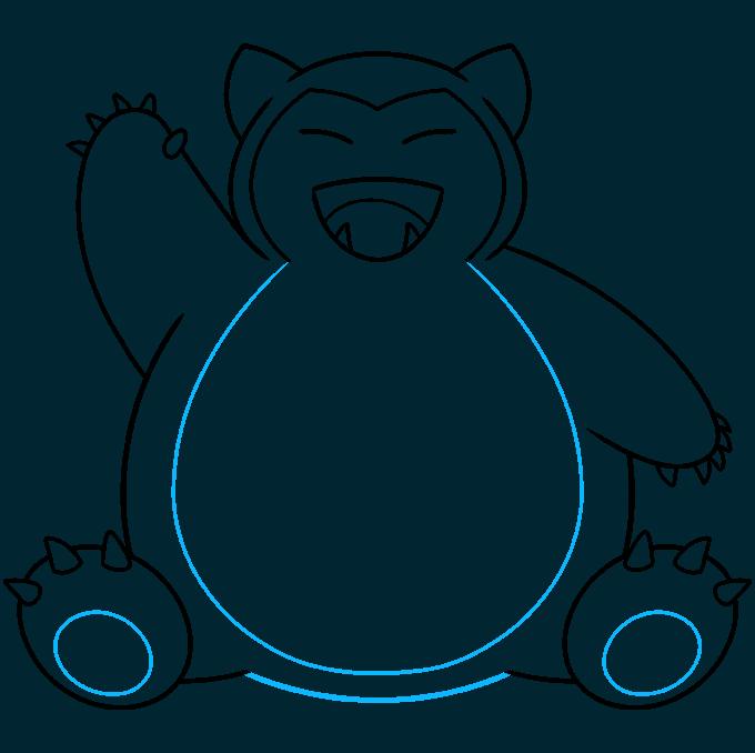 snorlax pokémon step-by-step drawing tutorial: step 09