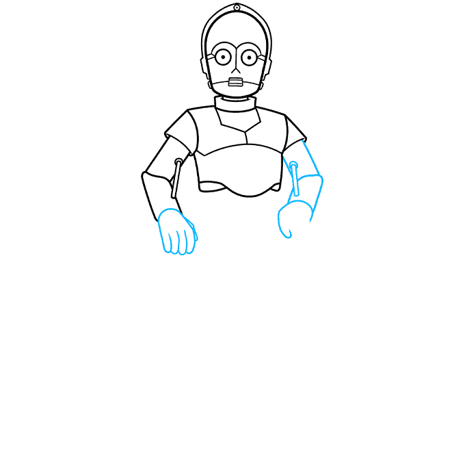 C-3PO from Star Wars step-by-step drawing tutorial: step 04