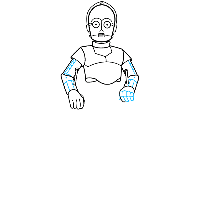 C-3PO from Star Wars step-by-step drawing tutorial: step 05