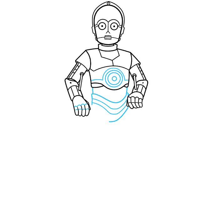 C-3PO from Star Wars step-by-step drawing tutorial: step 06