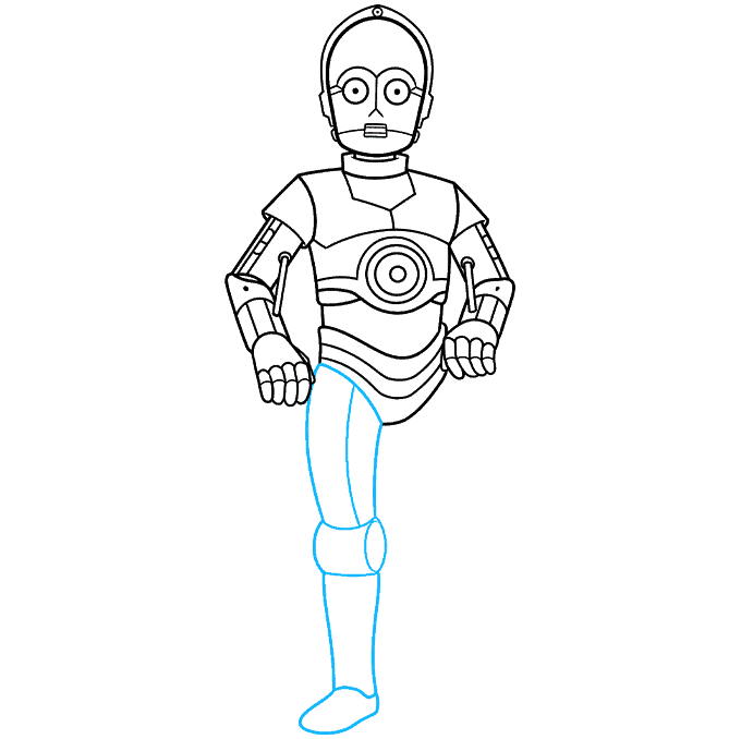 C-3PO from Star Wars step-by-step drawing tutorial: step 07