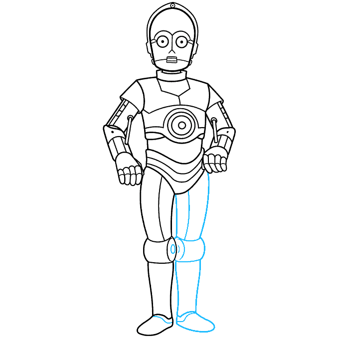 C-3PO from Star Wars step-by-step drawing tutorial: step 08