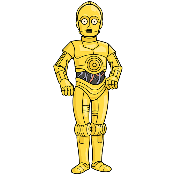 C-3PO from Star Wars step-by-step drawing tutorial: step 10