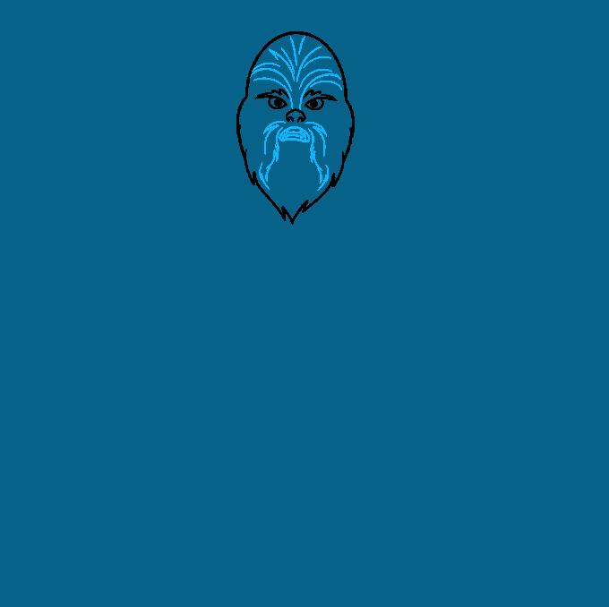 cartoon chewbacca step-by-step drawing tutorial: step 02