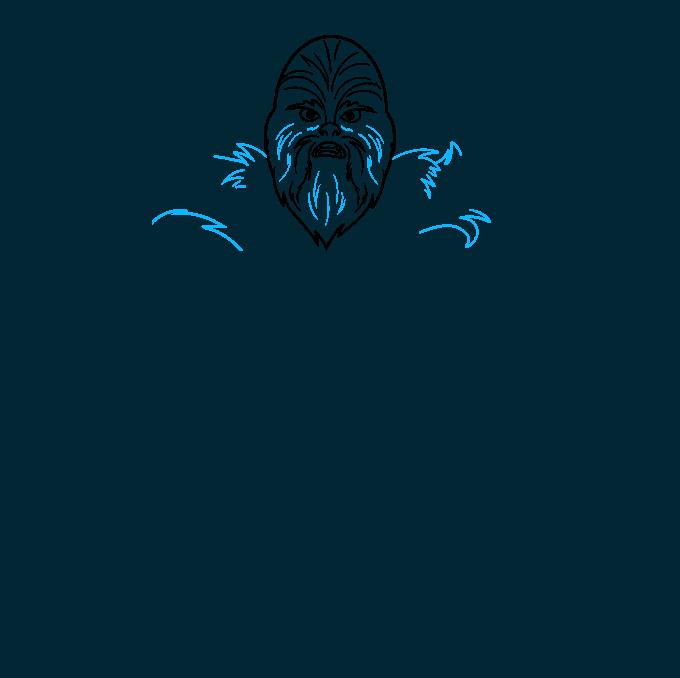 cartoon chewbacca step-by-step drawing tutorial: step 03