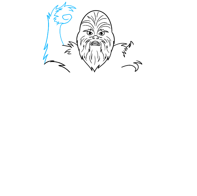 cartoon chewbacca step-by-step drawing tutorial: step 04