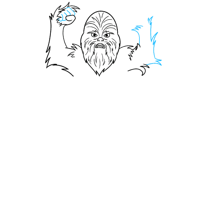 cartoon chewbacca step-by-step drawing tutorial: step 05