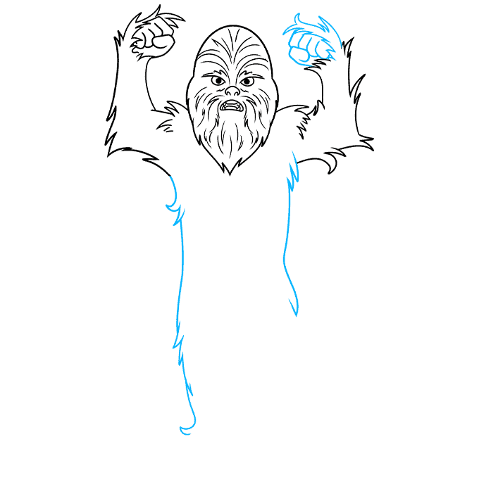 cartoon chewbacca step-by-step drawing tutorial: step 06