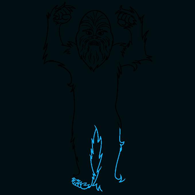 cartoon chewbacca step-by-step drawing tutorial: step 07
