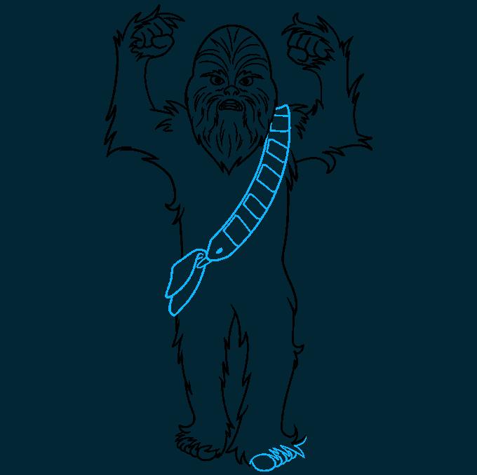 cartoon chewbacca step-by-step drawing tutorial: step 08