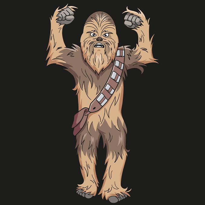 cartoon chewbacca step-by-step drawing tutorial: step 10
