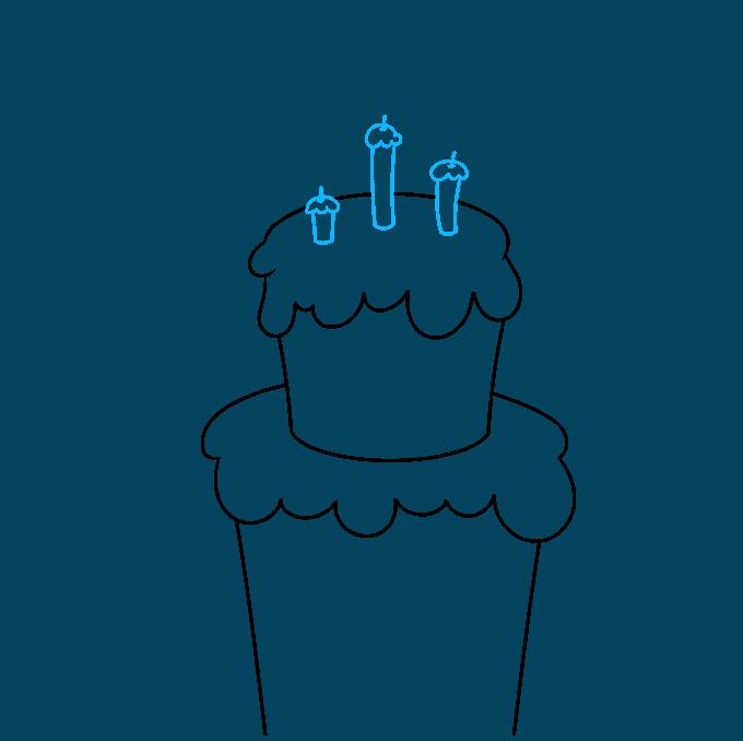 happy birthday card step-by-step drawing tutorial: step 03