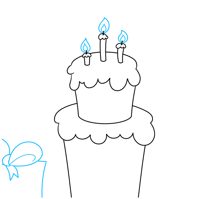 happy birthday card step-by-step drawing tutorial: step 04