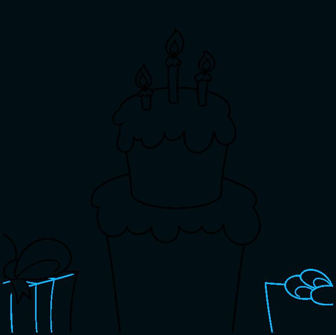 happy birthday card step-by-step drawing tutorial: step 05